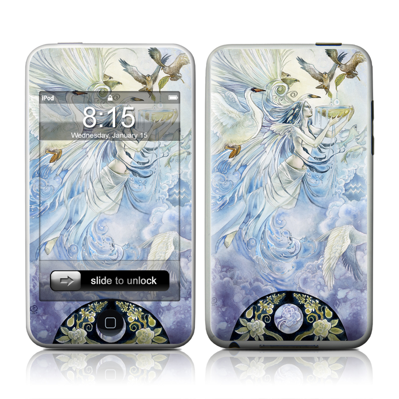 iPod touch 2nd & 3rd Gen Skin design of Illustration, Fictional character, Mythology, Angel, Cg artwork, Art, Painting, Supernatural creature, Watercolor paint, Mythical creature with blue, white, brown, purple, yellow colors