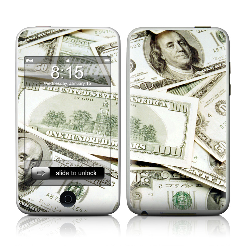 iPod touch 2nd & 3rd Gen Skin design of Money, Cash, Currency, Banknote, Dollar, Saving, Money handling, Paper, Stock photography, Paper product with green, white, black, gray colors