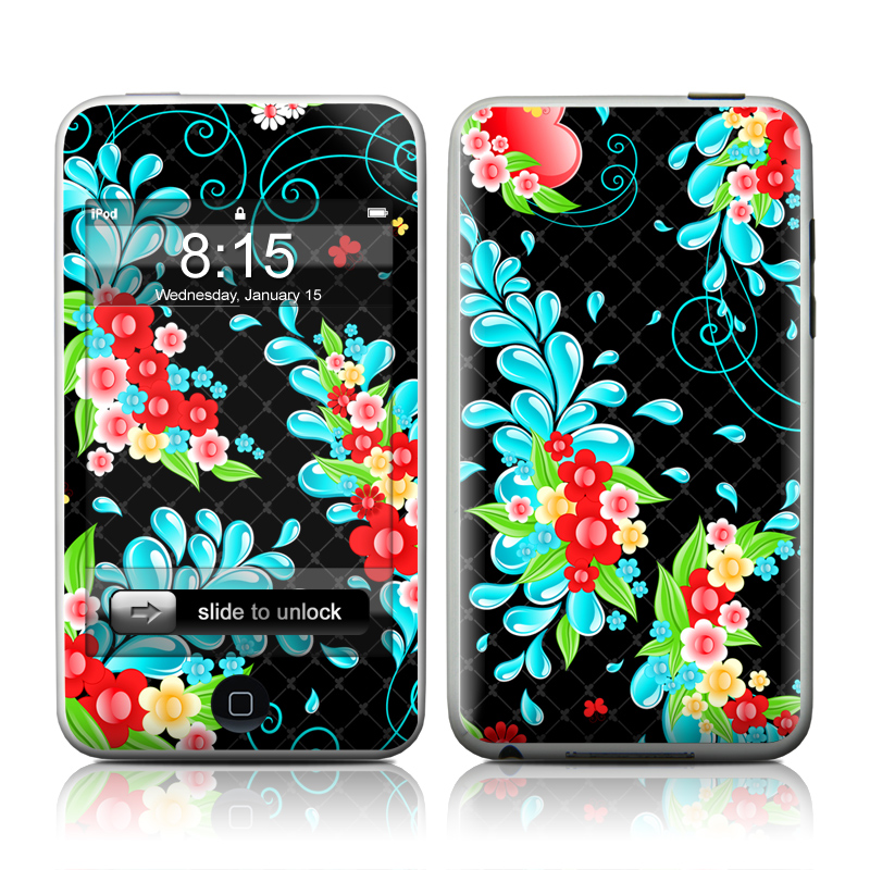 iPod touch 2nd & 3rd Gen Skin design of Pattern, Visual arts, Illustration, Design, Floral design, Art, Graphic design, Plant, Wildflower, Flower with black, blue, pink, red, green colors