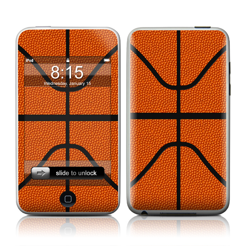iPod touch 2nd & 3rd Gen Skin design of Orange, Basketball, Line, Pattern, Sport venue, Brown, Yellow, Design, Net, Team sport with orange, black colors