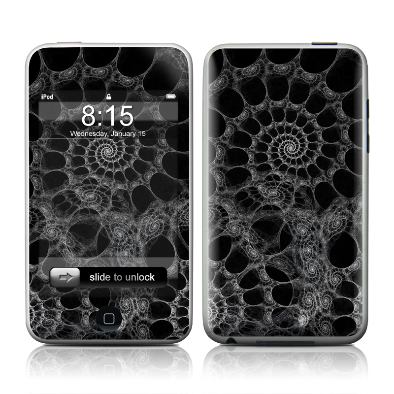 iPod touch 2nd & 3rd Gen Skin design of Pattern, Monochrome, Black-and-white, Fractal art, Monochrome photography, Design, Textile, Organism, Photography, Symmetry with black, gray colors