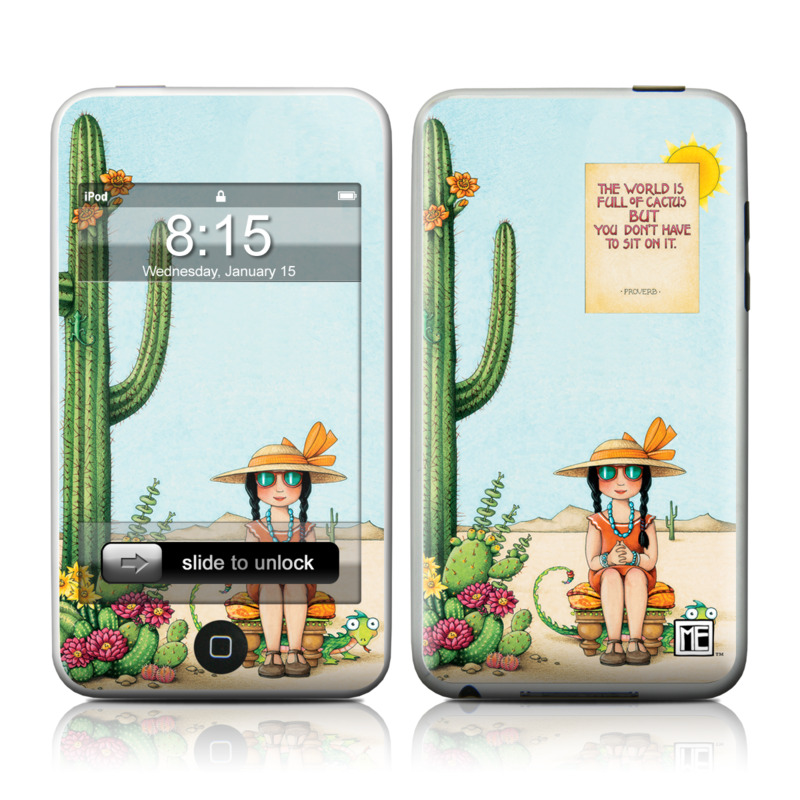iPod touch 2nd & 3rd Gen Skin design of Cartoon, Cactus, Illustration, Animated cartoon, Plant, Vegetable, Fictional character, Art with green, yellow, pink, orange, brown colors