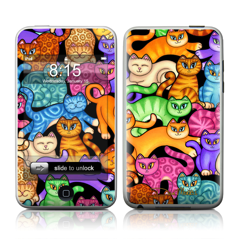 iPod touch 2nd & 3rd Gen Skin design of Cat, Cartoon, Felidae, Organism, Small to medium-sized cats, Illustration, Animated cartoon, Wildlife, Kitten, Art with black, blue, red, purple, green, brown colors