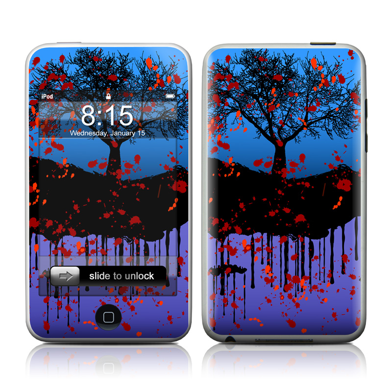 iPod touch 2nd & 3rd Gen Skin design of Red, Sky, Tree, Blue, Natural landscape, Leaf, Woody plant, Water, Plant, Branch with black, blue, red colors