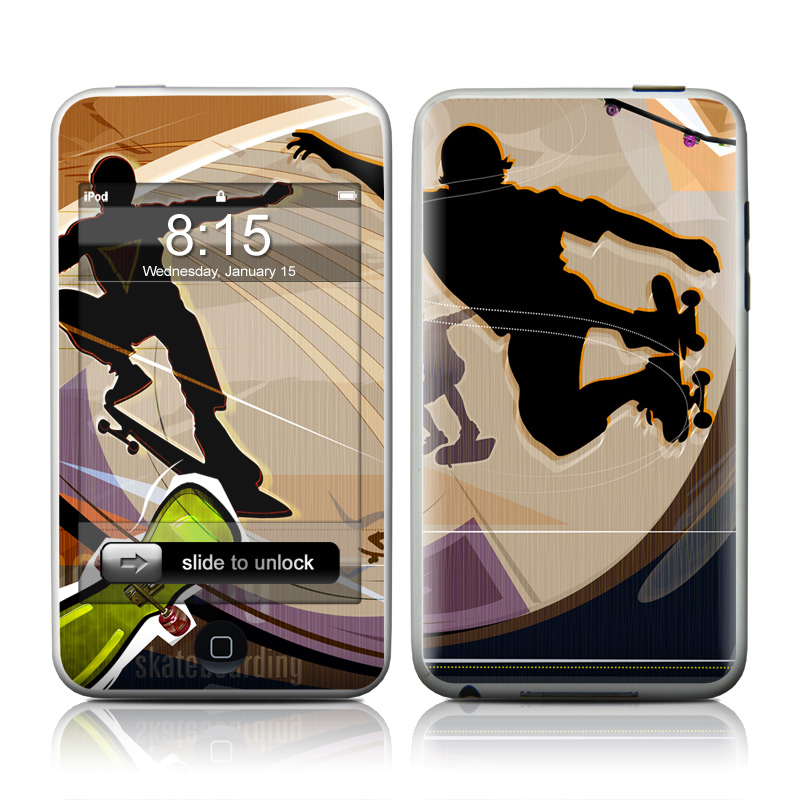 iPod touch 2nd & 3rd Gen Skin design of Skateboarding, Skateboard, Kung fu, Recreation, Sports, Extreme sport, Longboard, Skateboarder, Individual sports, Sports equipment with gray, black, green, red, purple colors