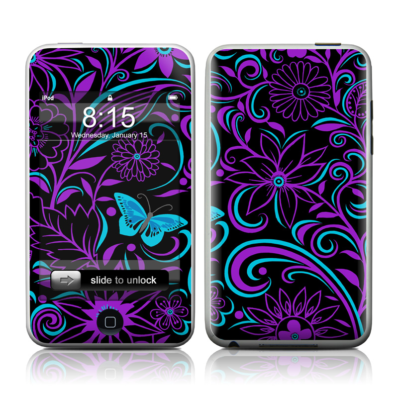 iPod touch 2nd & 3rd Gen Skin design of Pattern, Purple, Violet, Turquoise, Teal, Design, Floral design, Visual arts, Magenta, Motif with black, purple, blue colors