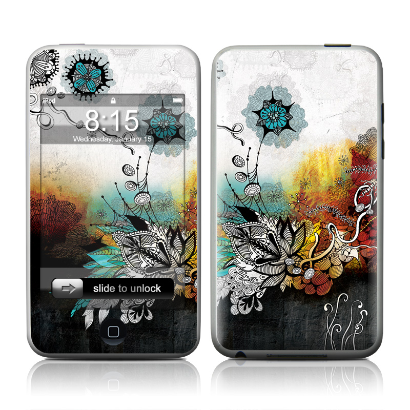iPod touch 2nd & 3rd Gen Skin design of Graphic design, Illustration, Art, Design, Visual arts, Floral design, Font, Graphics, Modern art, Painting with black, gray, red, green, blue colors