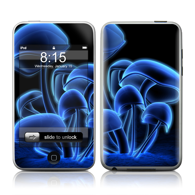 iPod touch 2nd & 3rd Gen Skin design of Organism, Electric blue, Graphic design, Graphics, Mushroom with black, blue colors