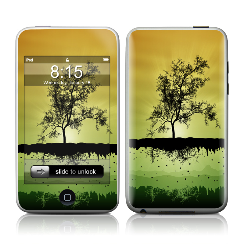 iPod touch 2nd & 3rd Gen Skin design of Natural landscape, Nature, Reflection, Tree, Sky, Green, Water, Atmospheric phenomenon, Morning, Yellow with green, black, gray, red colors