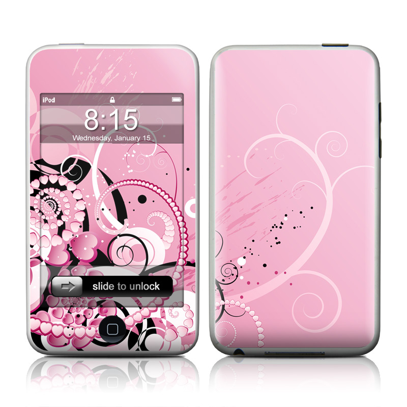 iPod touch 2nd & 3rd Gen Skin design of Pink, Floral design, Graphic design, Text, Design, Flower Arranging, Pattern, Illustration, Flower, Floristry with pink, gray, black, white, purple, red colors