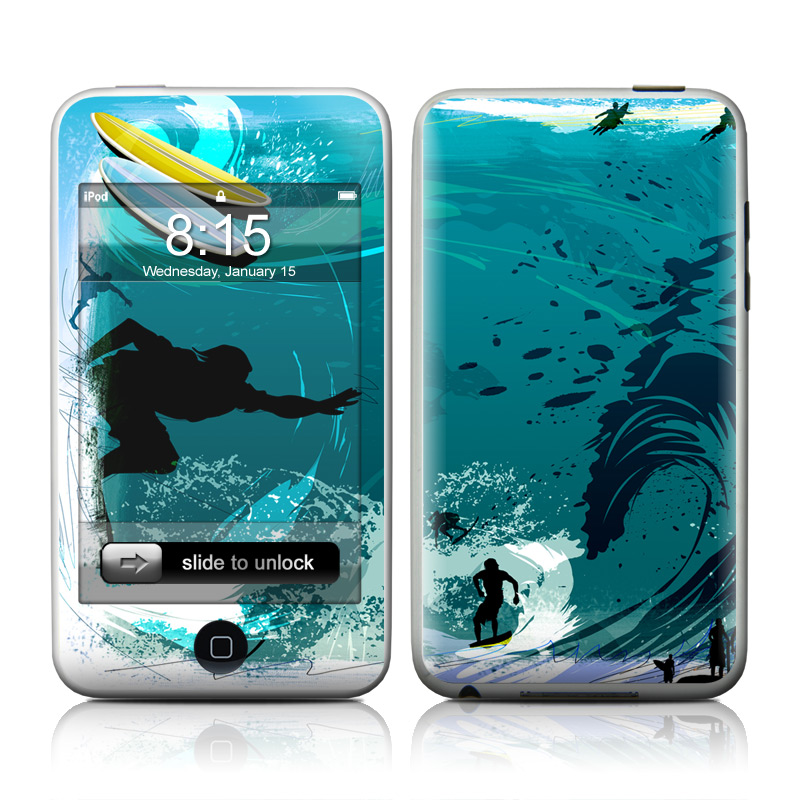 iPod touch 2nd & 3rd Gen Skin design of Water, Illustration, Extreme sport, Recreation, Graphic design, Surfing, Leisure, Ocean, Surface water sports, Wind wave with blue, black, gray, purple, white colors