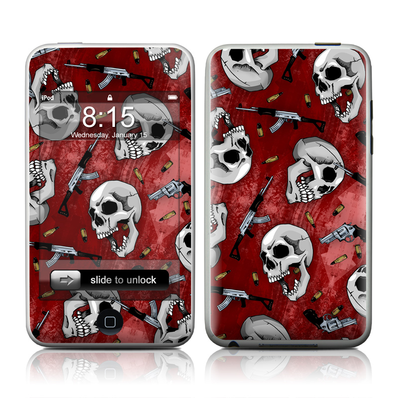 iPod touch 2nd & 3rd Gen Skin design of Skull, Red, Bone, Personal protective equipment, Skeleton, Mask, Font, Sports gear, Headgear, Pattern with black, red, gray colors