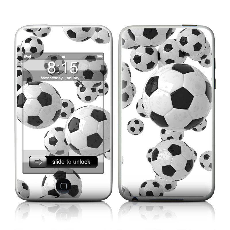 iPod touch 2nd & 3rd Gen Skin design of White, Pattern, Football, Ball, Design, Black-and-white, Soccer ball, Monochrome, Paw, Games with gray, white, black colors