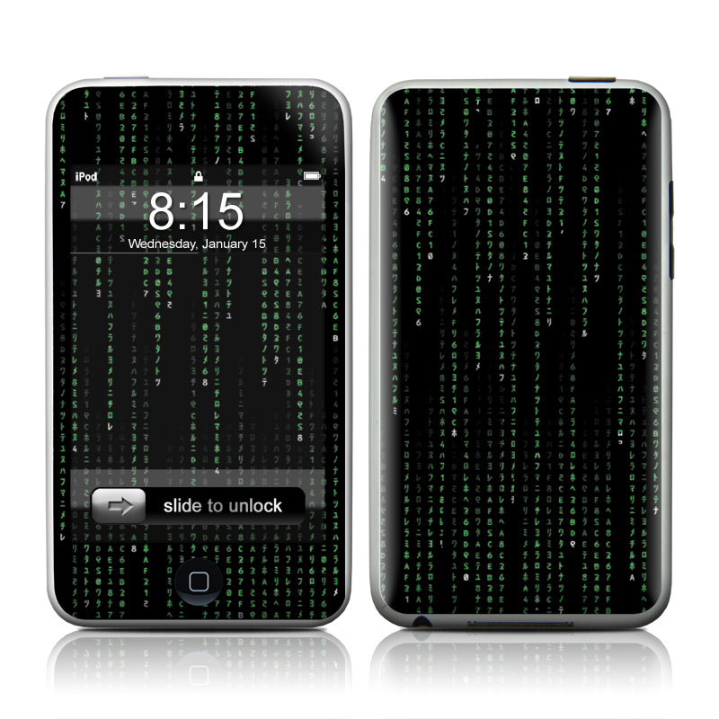 iPod touch 2nd & 3rd Gen Skin design of Green, Black, Pattern, Symmetry with black colors