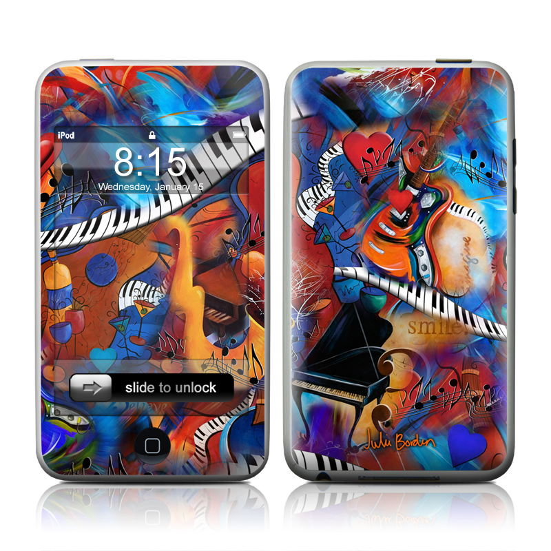 iPod touch 2nd & 3rd Gen Skin design of Art, Graffiti, Mural, Modern art, Street art, Psychedelic art, Fictional character, Graphic design, Visual arts, Animated cartoon with black, red, blue, gray, green colors