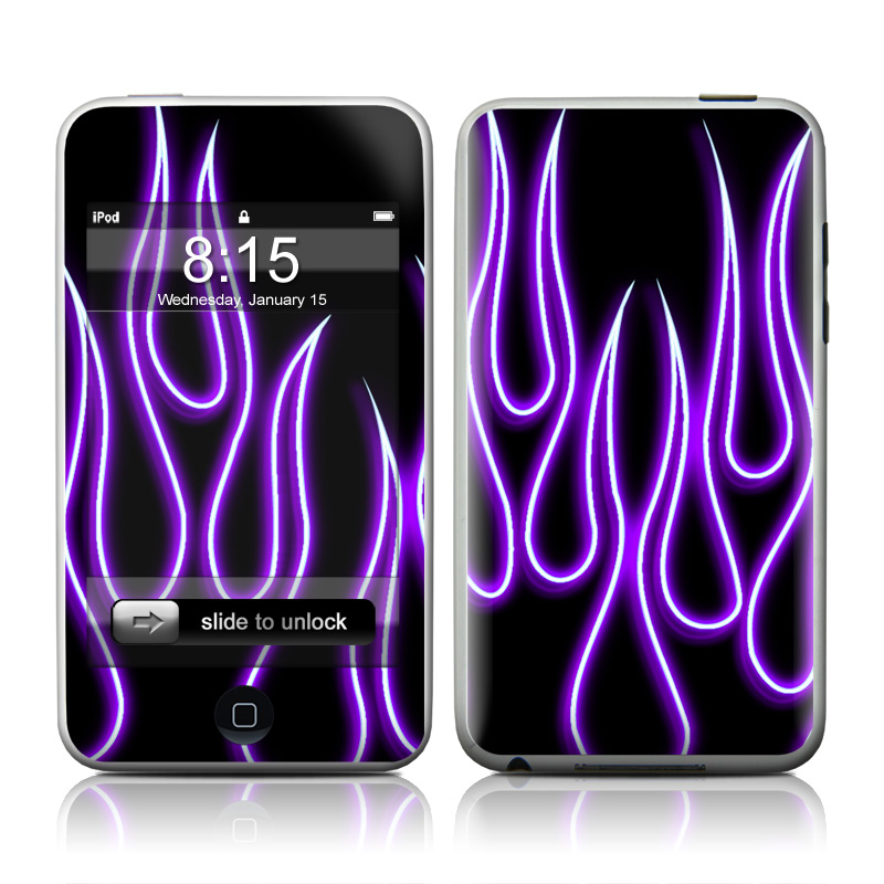 Purple Neon Flames iPod touch 2nd Gen or 3rd Gen Skin