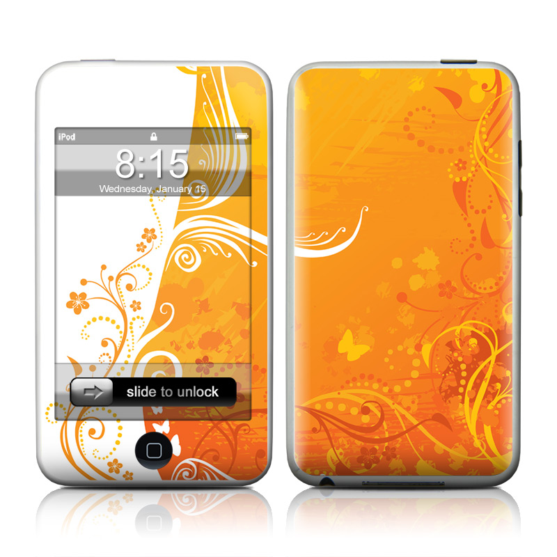 iPod touch 2nd & 3rd Gen Skin design of Orange, Yellow, Pattern, Amber, Design, Ornament, Floral design, Graphics, Graphic design, Visual arts with orange, white, red, pink, yellow colors