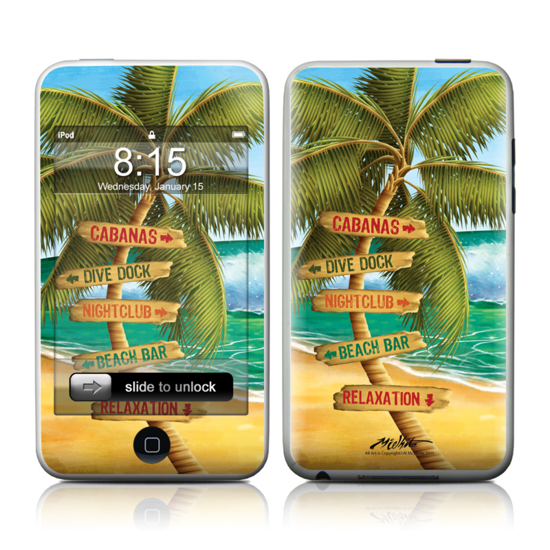 iPod touch 2nd & 3rd Gen Skin design of Palm tree, Arecales, Tropics, Tree, Caribbean, Wave, Water, Coconut, Ocean, Elaeis with green, purple, gray, black, blue colors
