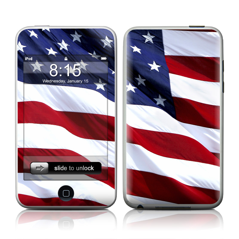 iPod touch 2nd & 3rd Gen Skin design of Flag, Flag of the united states, Flag Day (USA), Veterans day, Memorial day, Holiday, Independence day, Event with red, blue, white colors