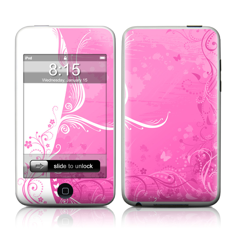 iPod touch 2nd & 3rd Gen Skin design of Pink, Pattern, Magenta, Design, Visual arts, Wallpaper, Paisley, Floral design, Ornament, Motif with pink, white, purple colors