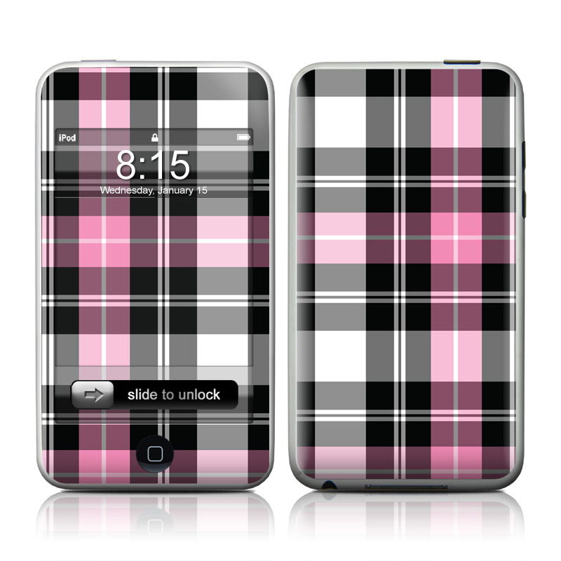 iPod touch 2nd & 3rd Gen Skin design of Plaid, Tartan, Pattern, Pink, Purple, Violet, Line, Textile, Magenta, Design with black, gray, pink, red, white, purple colors
