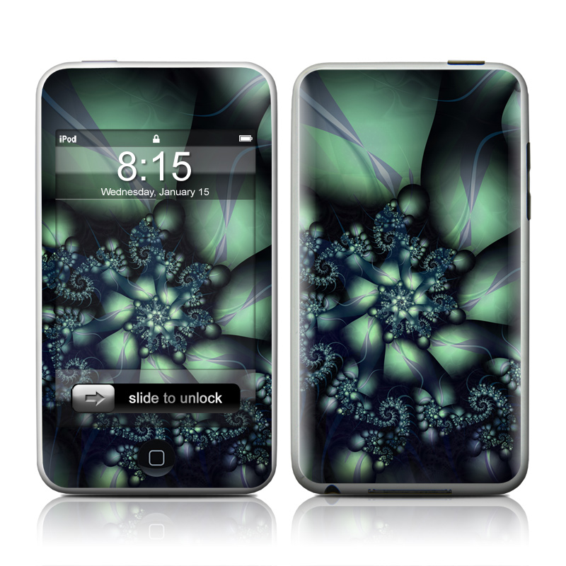 iPod touch 2nd & 3rd Gen Skin design of Fractal art, Blue, Purple, Graphic design, Art, Design, Pattern, Organism, Plant, Graphics with black, gray, blue, green colors