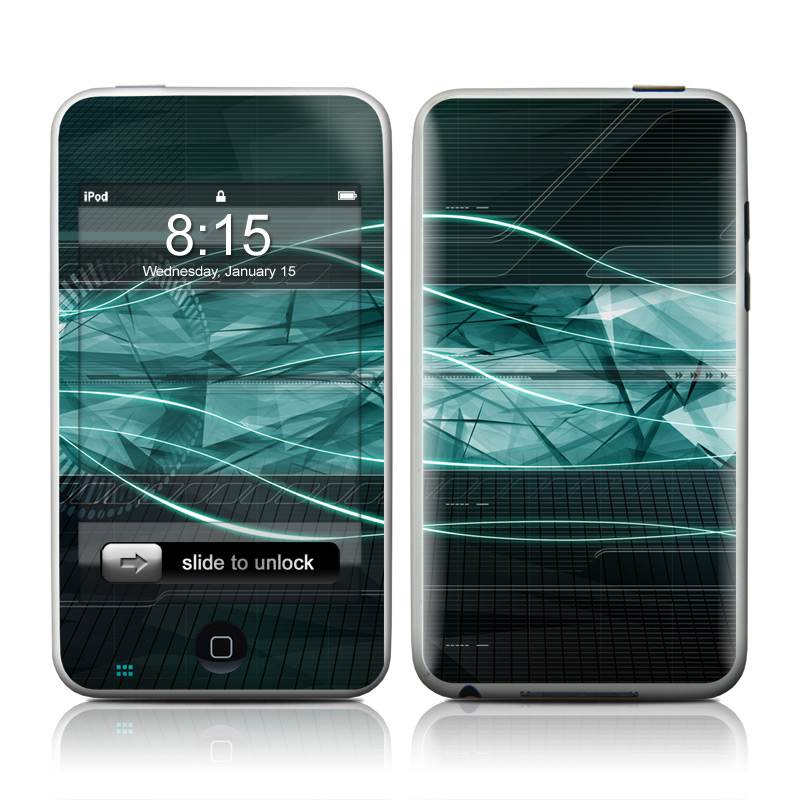 iPod touch 2nd & 3rd Gen Skin design of Blue, Green, Aqua, Turquoise, Light, Teal, Line, Water, Pattern, Architecture with black, blue, gray colors