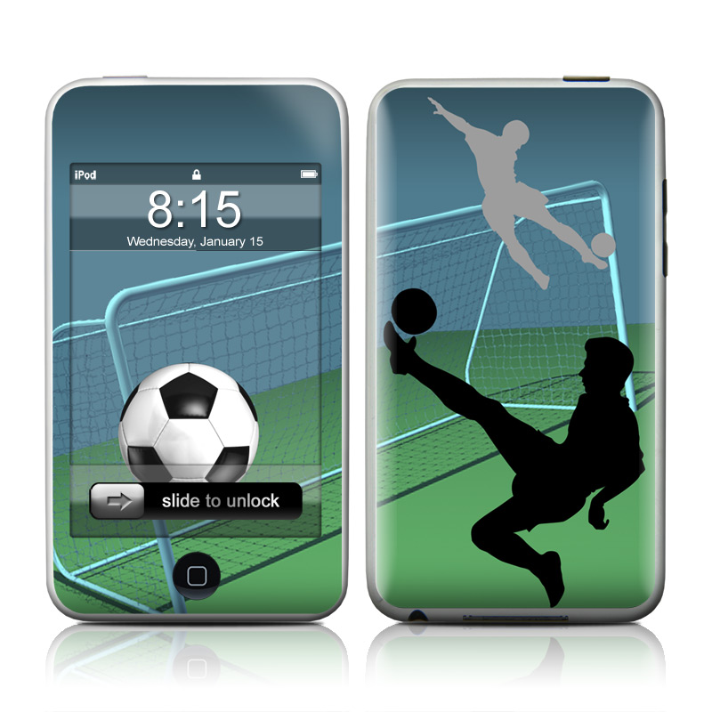 iPod touch 2nd & 3rd Gen Skin design of Soccer ball, Football, Soccer kick, Player, Ball, Volleyball player, Sports equipment, Kick, Net, Score a goal with green, black, blue, gray colors