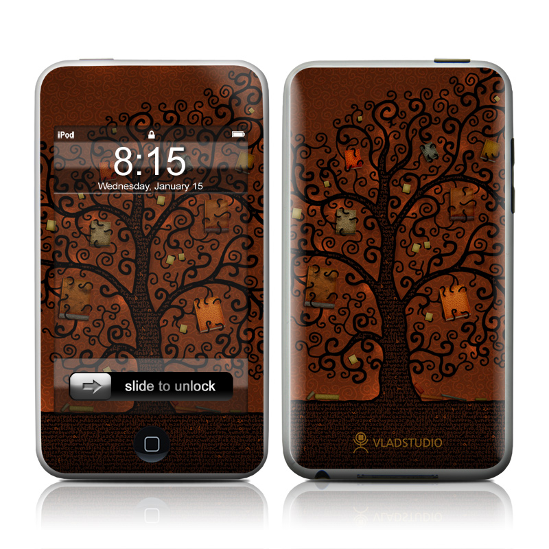 iPod touch 2nd & 3rd Gen Skin design of Tree, Brown, Leaf, Plant, Woody plant, Branch, Visual arts, Font, Pattern, Art with black colors
