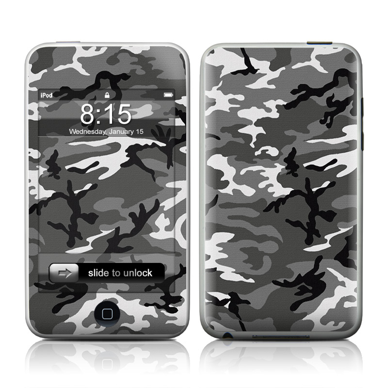iPod touch 2nd & 3rd Gen Skin design of Military camouflage, Pattern, Clothing, Camouflage, Uniform, Design, Textile with black, gray colors
