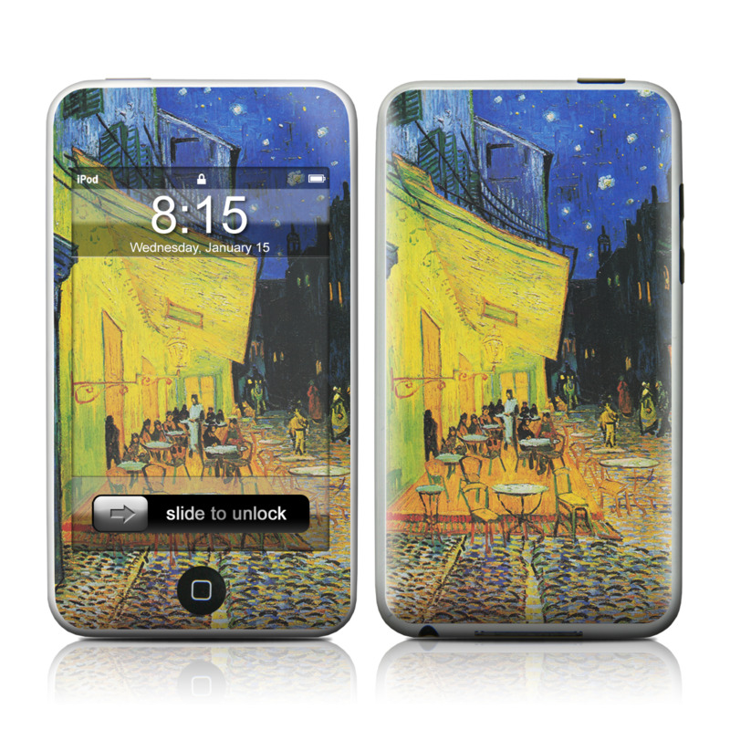 iPod touch 2nd & 3rd Gen Skin design of Painting, Art, Yellow, Watercolor paint, Illustration, Modern art, Visual arts, Street, Infrastructure, Tree with green, black, blue, gray, red colors
