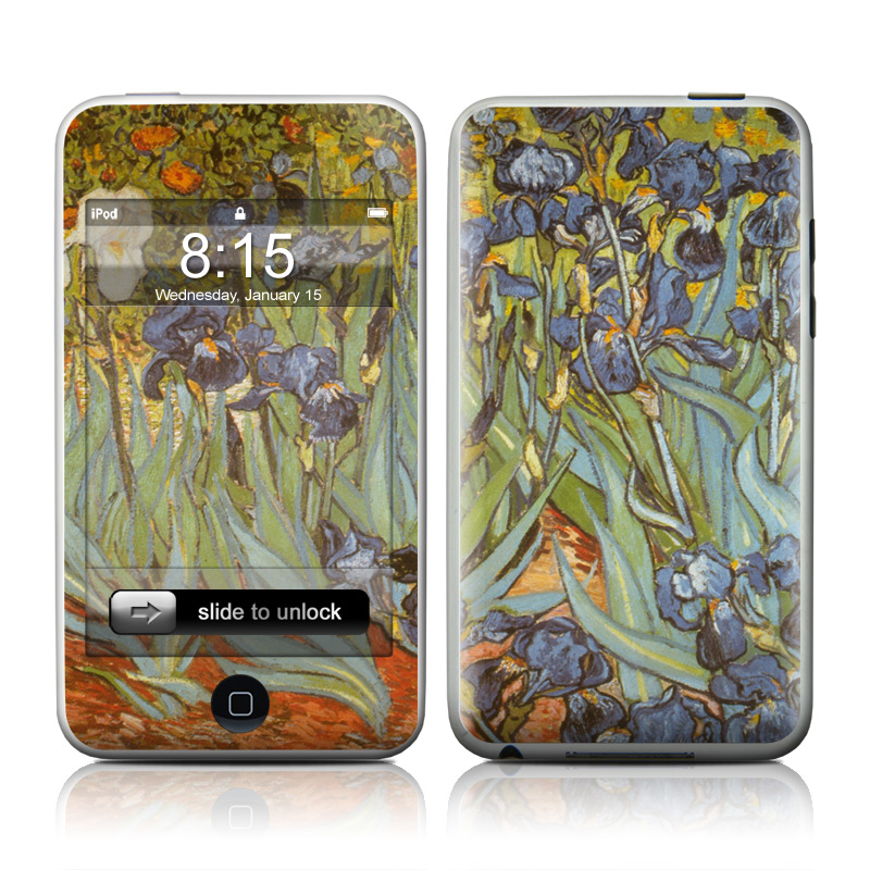 iPod touch 2nd & 3rd Gen Skin design of Painting, Plant, Art, Flower, Iris, Modern art, Perennial plant with gray, green, black, red, blue colors