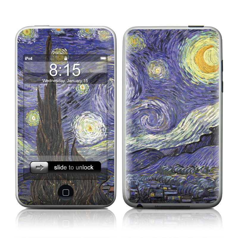 iPod touch 2nd & 3rd Gen Skin design of Painting, Purple, Art, Tree, Illustration, Organism, Watercolor paint, Space, Modern art, Plant with gray, black, blue, green colors