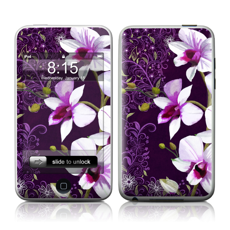 iPod touch 2nd & 3rd Gen Skin design of Flower, Purple, Petal, Violet, Lilac, Plant, Flowering plant, cooktown orchid, Botany, Wildflower with black, gray, white, purple, pink colors