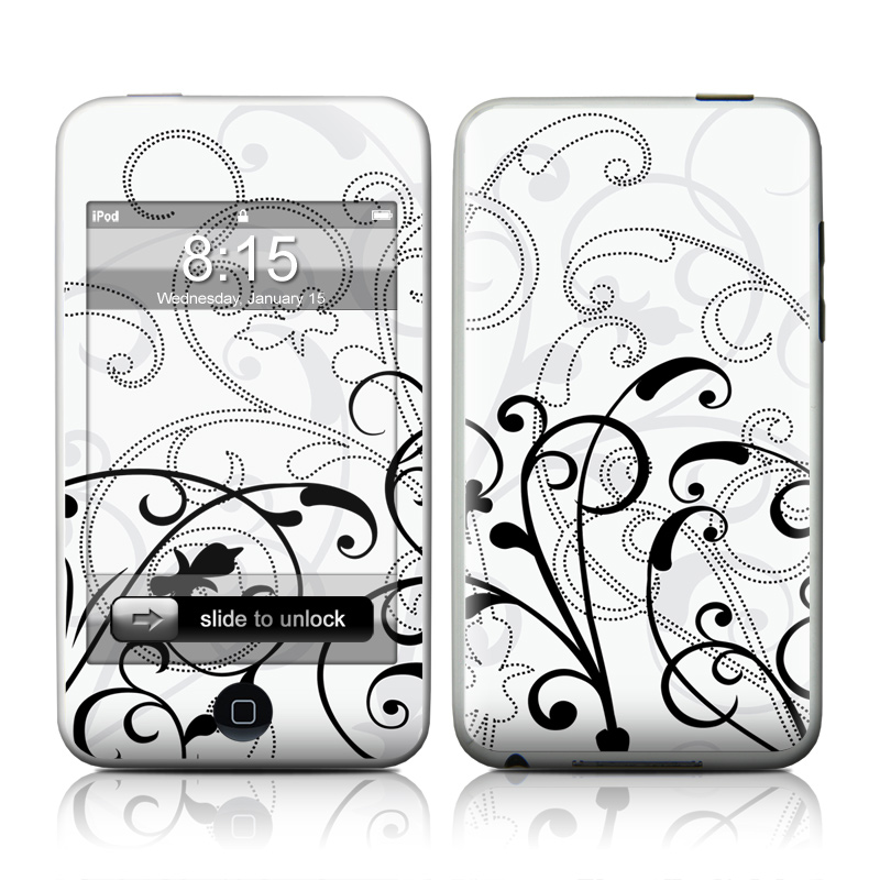 iPod touch 2nd & 3rd Gen Skin design of White, Line art, Floral design, Pattern, Black-and-white, Design, Botany, Ornament, Leaf, Line with white, gray, black colors