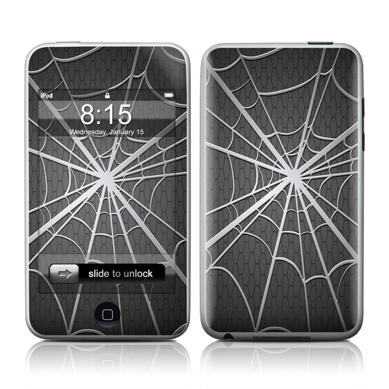iPod touch 2nd & 3rd Gen Skin design of Black, Pattern, Black-and-white, Monochrome, Line, Spider web, Symmetry, Design, Monochrome photography, Stock photography with black, gray colors
