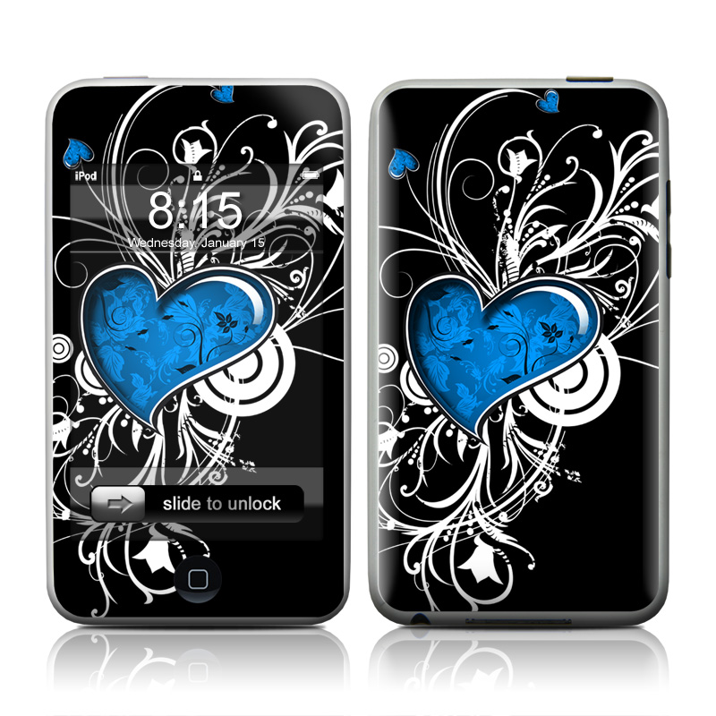 iPod touch 2nd & 3rd Gen Skin design of Graphic design, Heart, Design, Graphics, Illustration, Pattern, Plant, Visual arts, Art with black, gray, blue, white colors