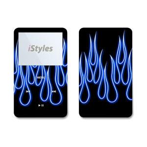 Blue Neon Flames iPod Video Skin