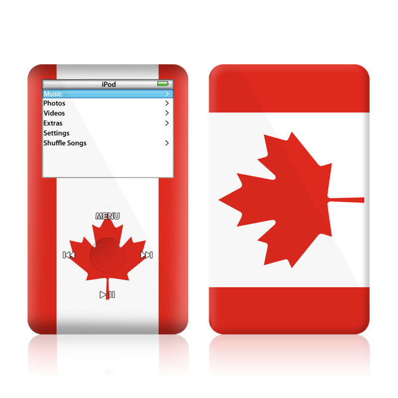 iPod 5th Gen Skin design of Red, Maple leaf, Tree, Leaf, Woody plant, Flag, Plant, Plane, Red flag, Maple with red, white colors