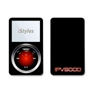 iPod 5th Gen Skin design with black, gray, red, blue colors