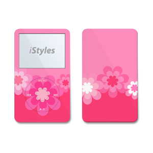 Retro Pink Flowers iPod Video Skin