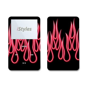 Red Neon Flames iPod Video Skin