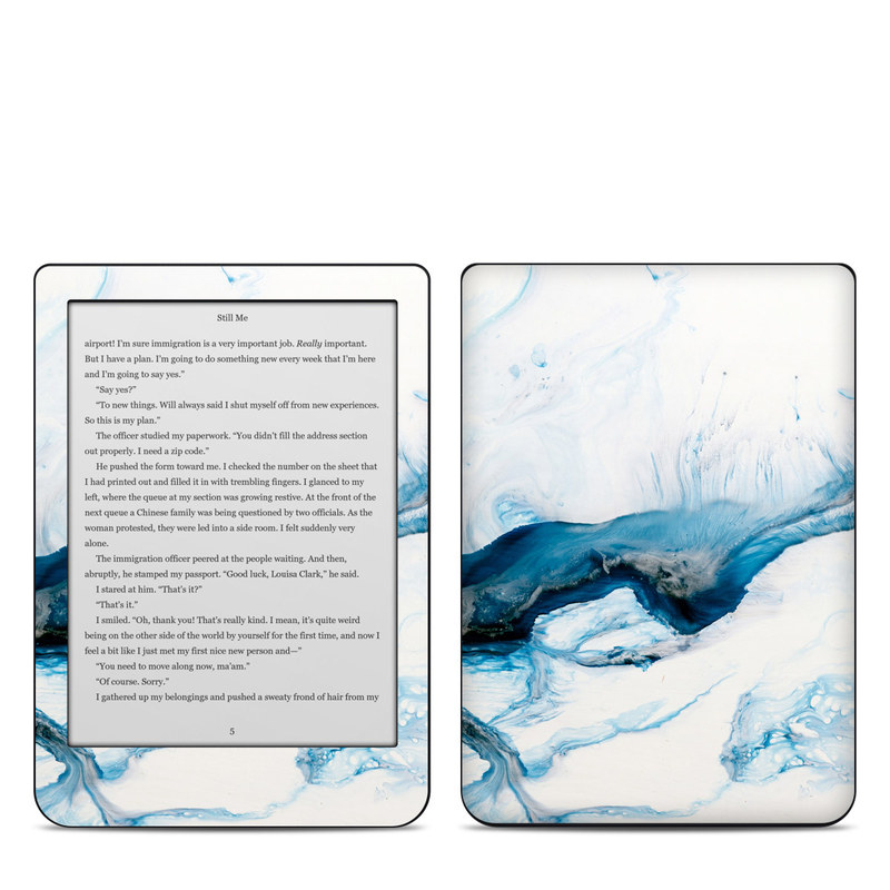 Kobo Clara HD Skin design of Glacial landform, Blue, Water, Glacier, Sky, Arctic, Ice cap, Watercolor paint, Drawing, Art with white, blue, black colors