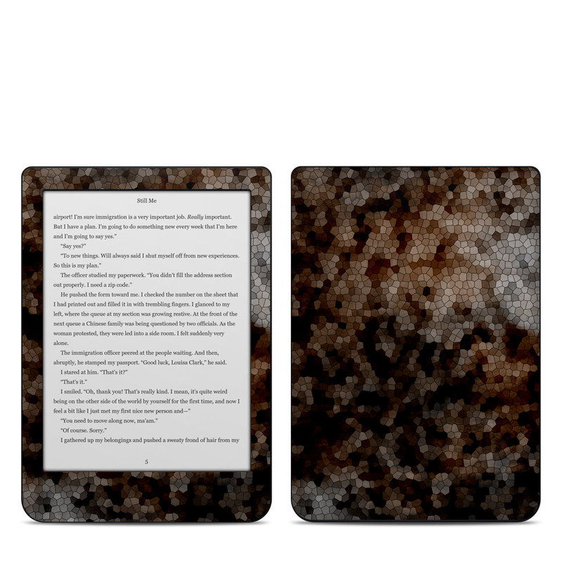 Kobo Clara HD Skin design of Brown, Design, Soil, Pattern, Rock, Rust, Granite, Metal with black, white, gray, brown colors
