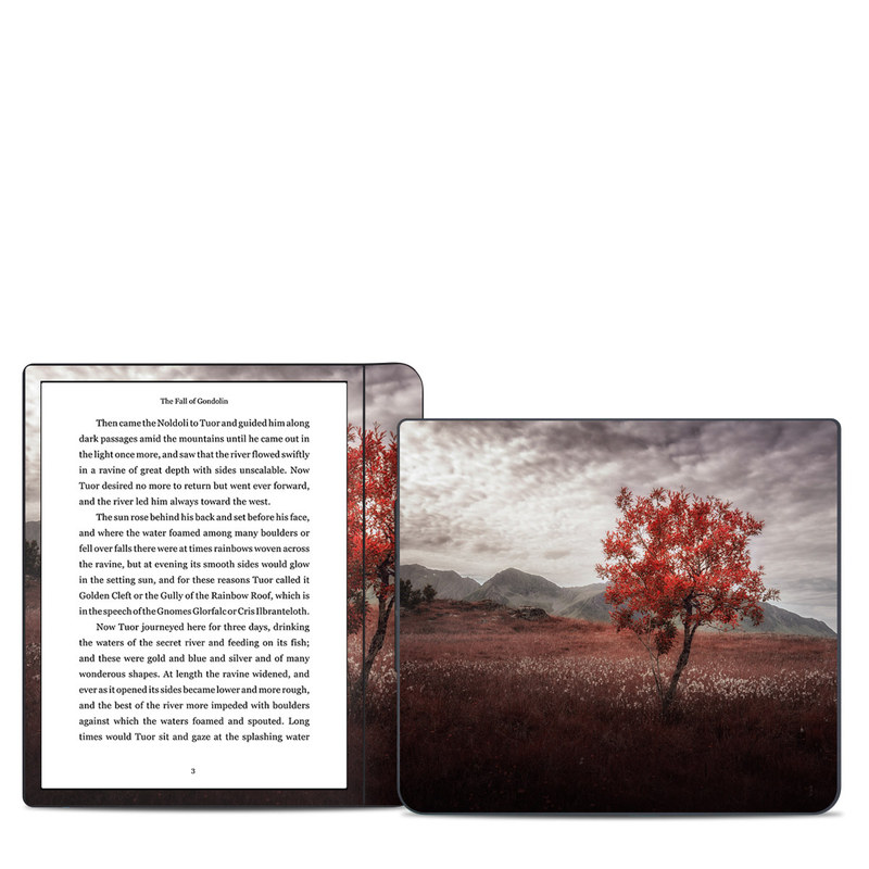 Kobo Forma Skin design of Natural landscape, Nature, Tree, Sky, Red, Natural environment, Atmospheric phenomenon, Leaf, Cloud, Woody plant with black, gray, red colors