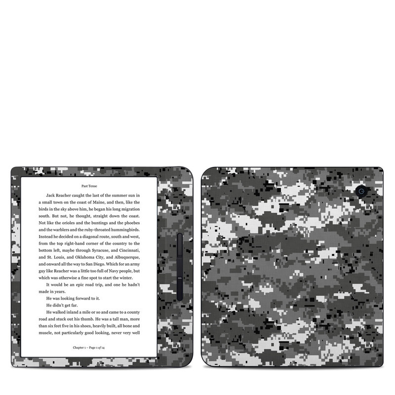 Kobo Libra H20 Skin design of Military camouflage, Pattern, Camouflage, Design, Uniform, Metal, Black-and-white with black, gray colors