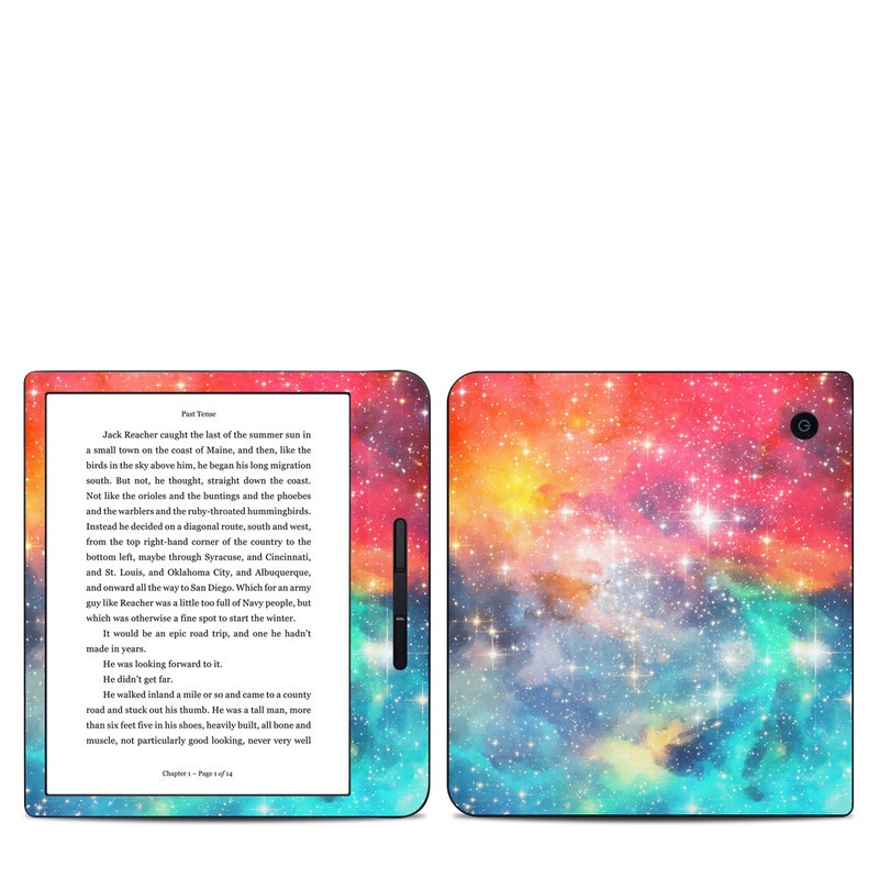 Kobo Libra H20 Skin design of Nebula, Sky, Astronomical object, Outer space, Atmosphere, Universe, Space, Galaxy, Celestial event, Star with white, black, red, orange, yellow, blue colors