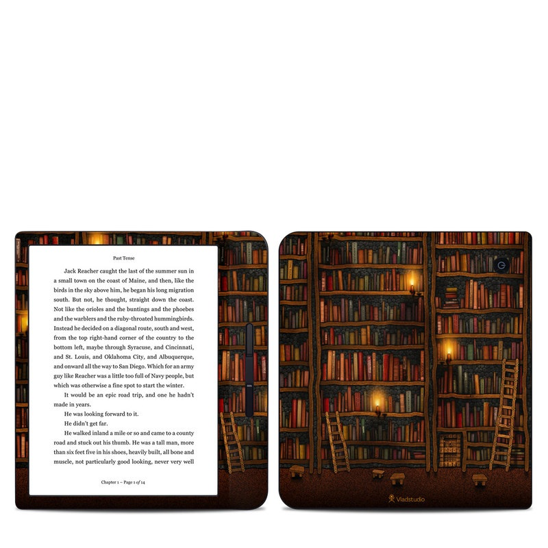 Kobo Libra H20 Skin design of Shelving, Library, Bookcase, Shelf, Furniture, Book, Building, Publication, Room, Darkness with black, red colors