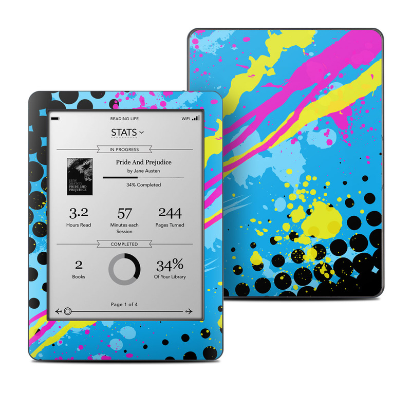 Kobo Glo Skin design of Blue, Colorfulness, Graphic design, Pattern, Water, Line, Design, Graphics, Illustration, Visual arts with blue, black, yellow, pink colors