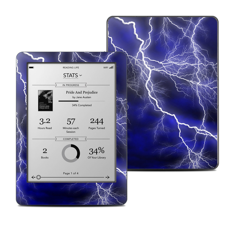 Kobo Glo Skin design of Thunder, Lightning, Thunderstorm, Sky, Nature, Electric blue, Atmosphere, Daytime, Blue, Atmospheric phenomenon with blue, black, white colors
